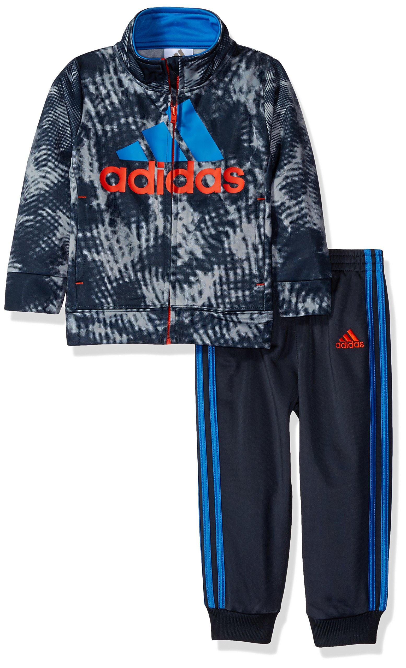 adidas Toddler Boys' Tricot Jacket and Pant Set, Dark Grey, 2T