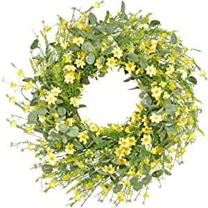 Artificial Daisy Wreath - 22 Inches Eucalyptus Wreath with Yellow Flower Wreath Spring Summer Wreath for Front Door Wall Decor