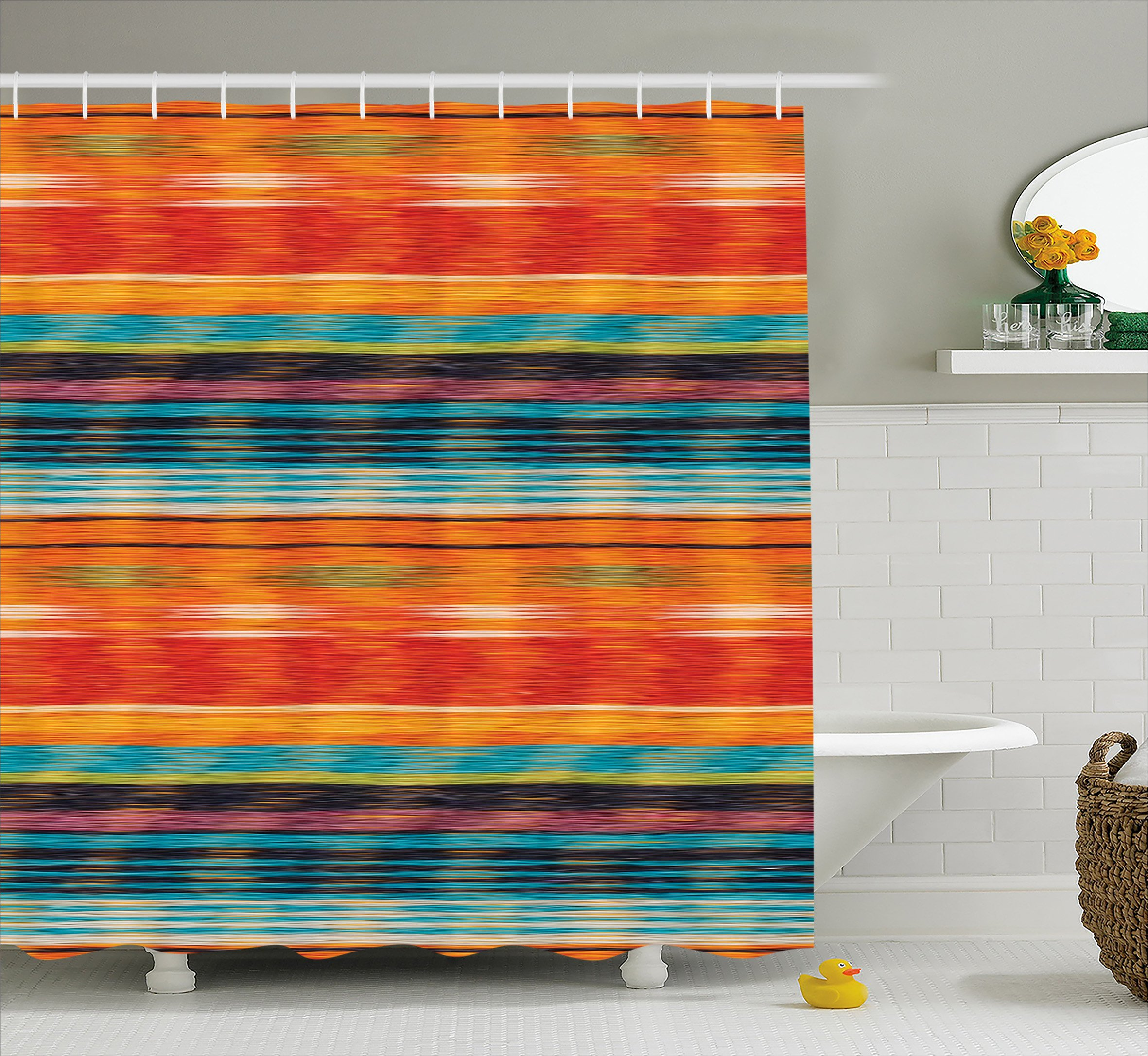 Ambesonne Mexican Decorations Shower Curtain by, Vibrant Vintage Aztec Motif with Gradient Blurred Lines Ecuador Crafts Image, Fabric Bathroom Decor Set with Hooks, 75 Inches Long, Multi