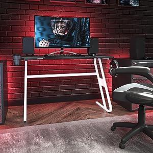 Flash Furniture Gaming Desk - White Ergonomic Computer Desk - 51.5