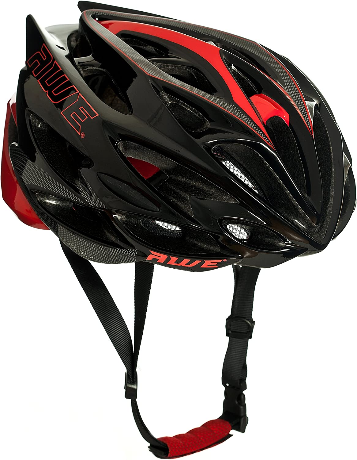 AWE AWESpeed FREE 5 YEAR CRASH REPLACEMENT In Mould Adult Mens Road Cycling Helmet Large Black Red Carbon US CPSC Standards 16 CFR 1203 Safety Tested