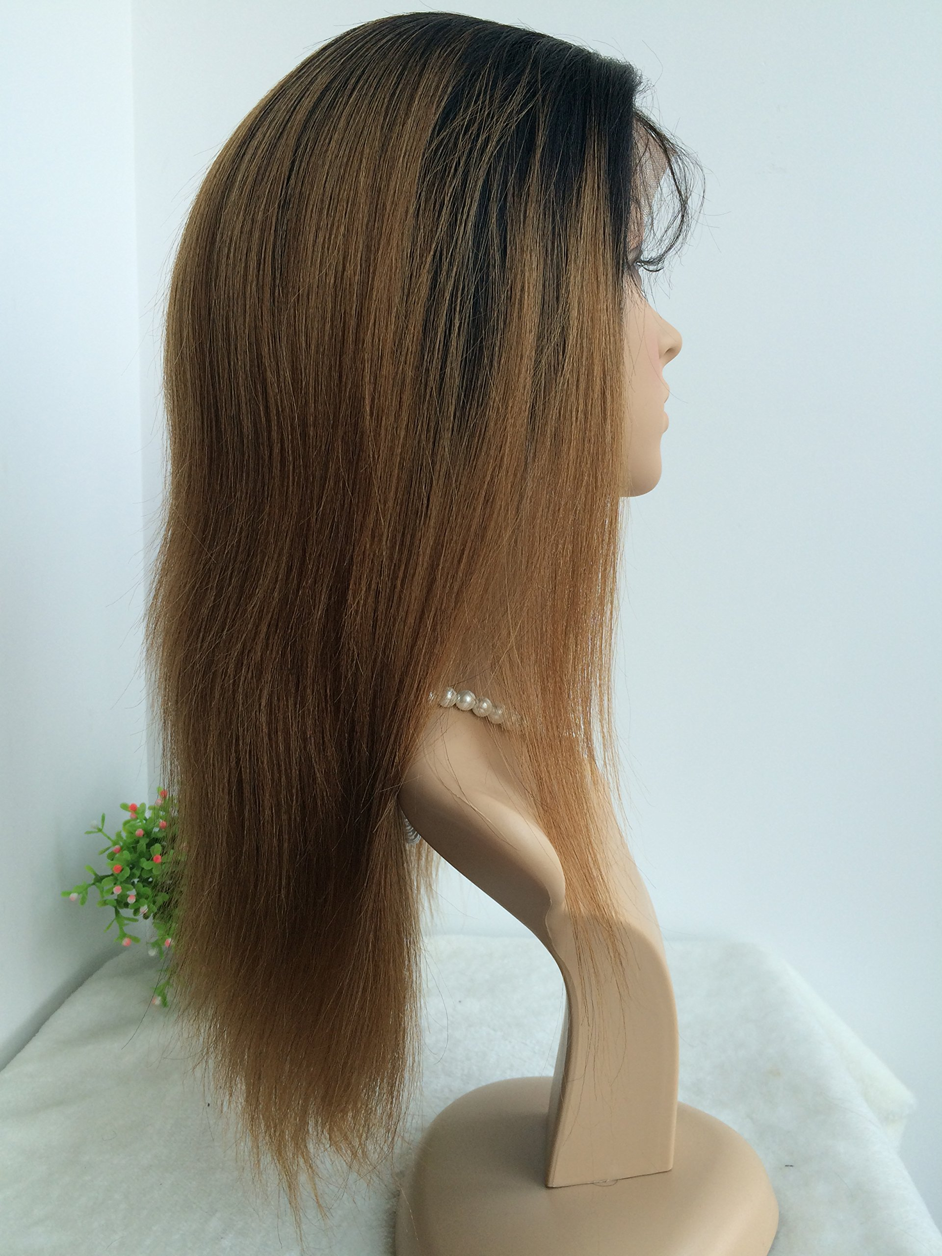 CHINESE VIRGIN HAIR,14 INCH,LIGHT YAKI FULL LACE WIGS SILK TOP BLEACHED KNOTS by April silk top wigs (Image #3)