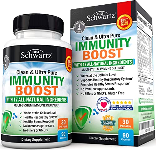 Immunity Boost Supplement with Elderberry, Vitamin A, Echinacea Zinc - Once Daily Multi-System Immune Defense - Promotes Healthy Stress Response - Supports a Healthy Respiratory System - 90 Capsules