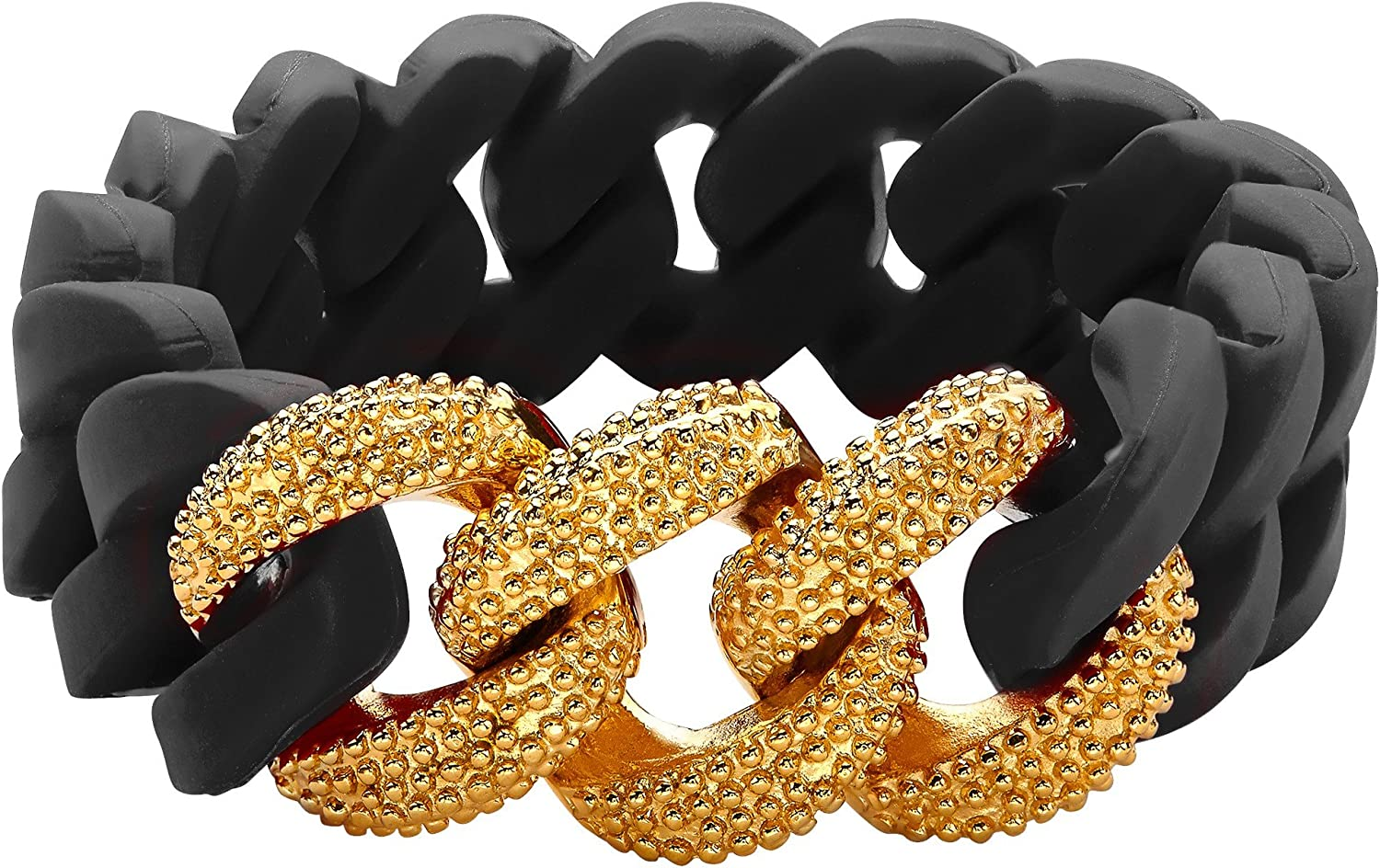 Silix By Aya Black Silicon Stretch Bracelet with 18K Gold over Stainless Steel by Aya Azrielant