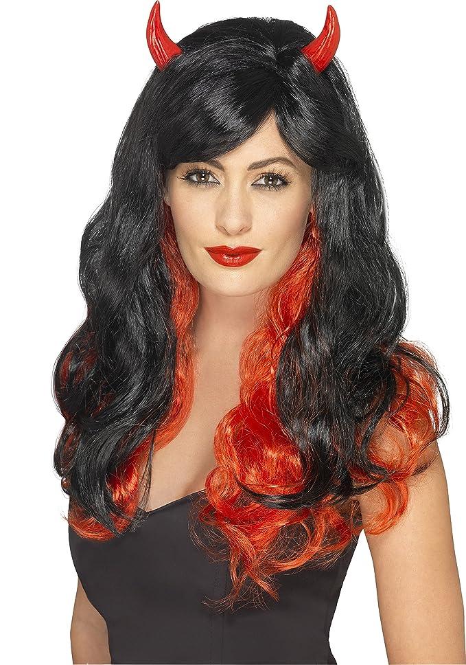Smiffys Femme, Perruque diablesse, Rouge et noir, avec cornes, 45597