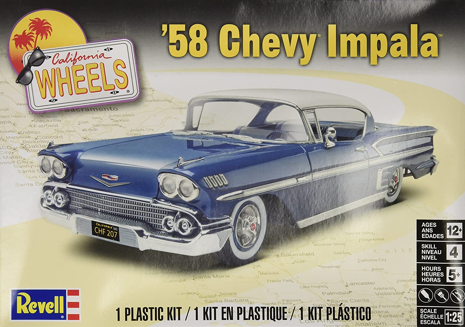 Revell 58 Chevy Impala Plastic Model Kit Toys Games 1957 Bel Air Convertible Lowrider