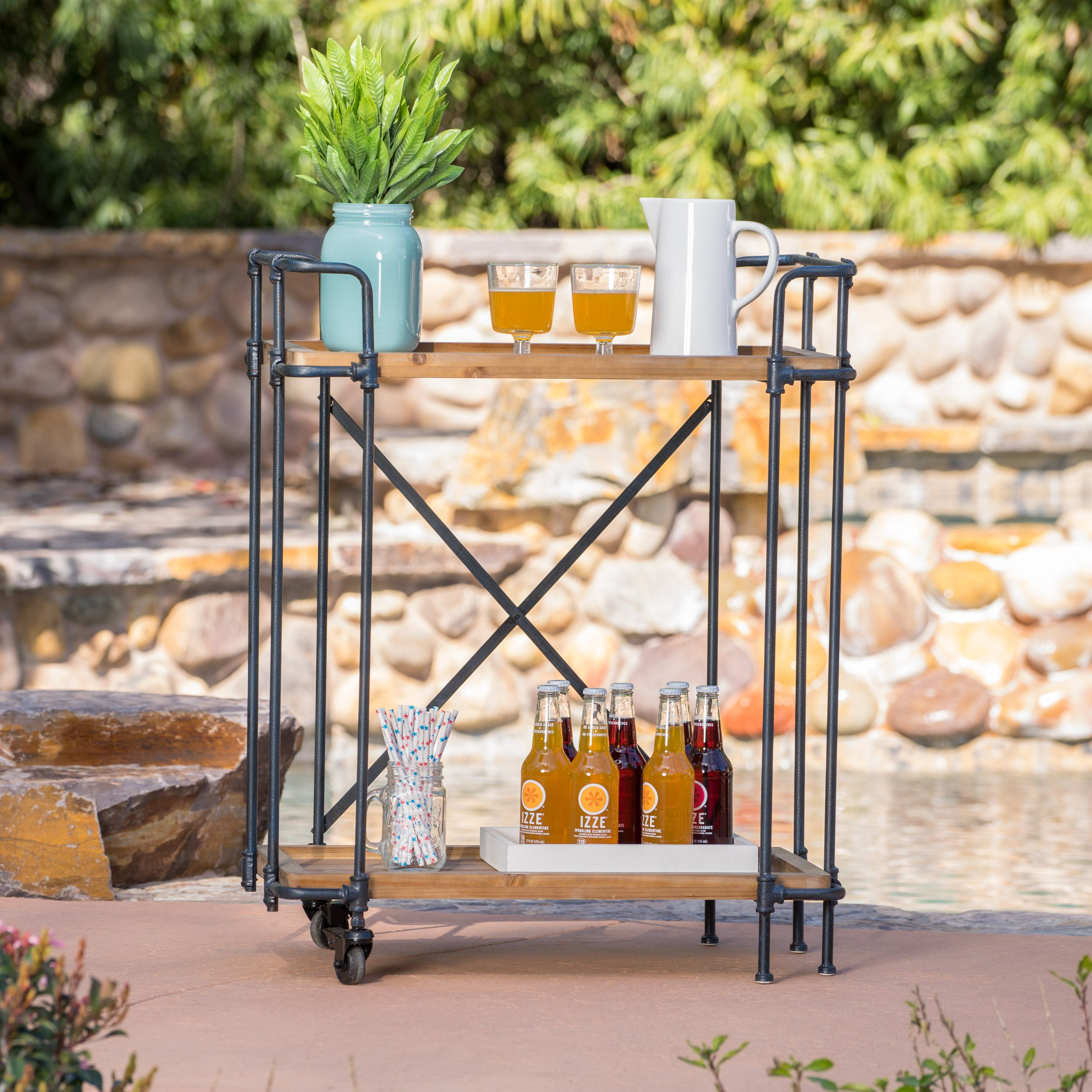 Samara Outdoor Natural Wood Finish Fir Wood and Iron Bar Cart by Christopher Knight Home