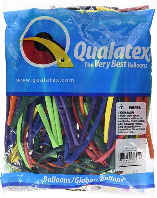 Qualatex 99321 260QCARNIVAL AST 100CT Modelling or Twisting Balloons