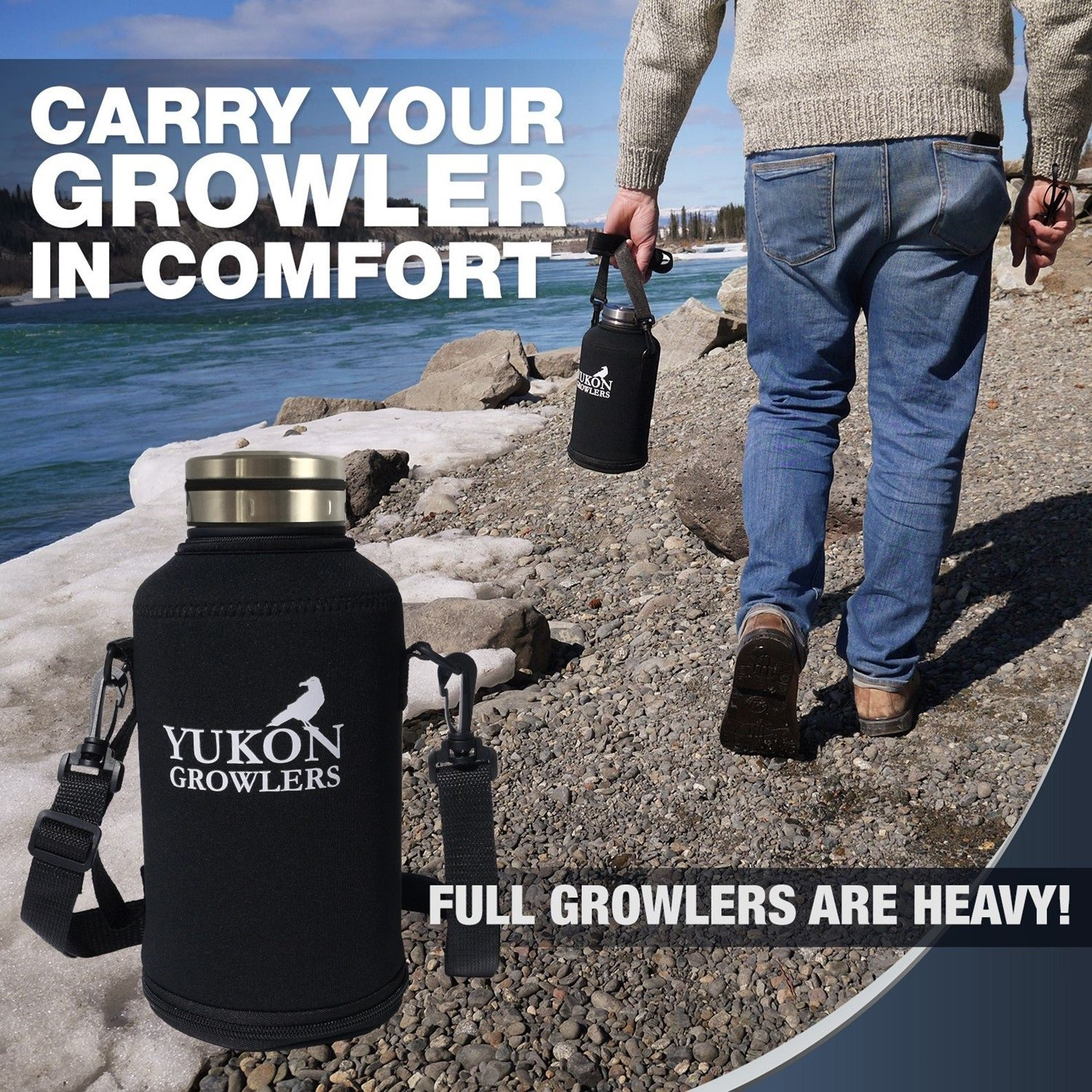 Yukon Growlers Insulated Beer Growler - Keep Your Beer Cold and Carbonated for 24 Hours - Stainless Steel Vacuum Water Bottle with Carrying Case Also Keeps Coffee Hot - Improved Lid - 64 oz by Yukon Growlers (Image #5)