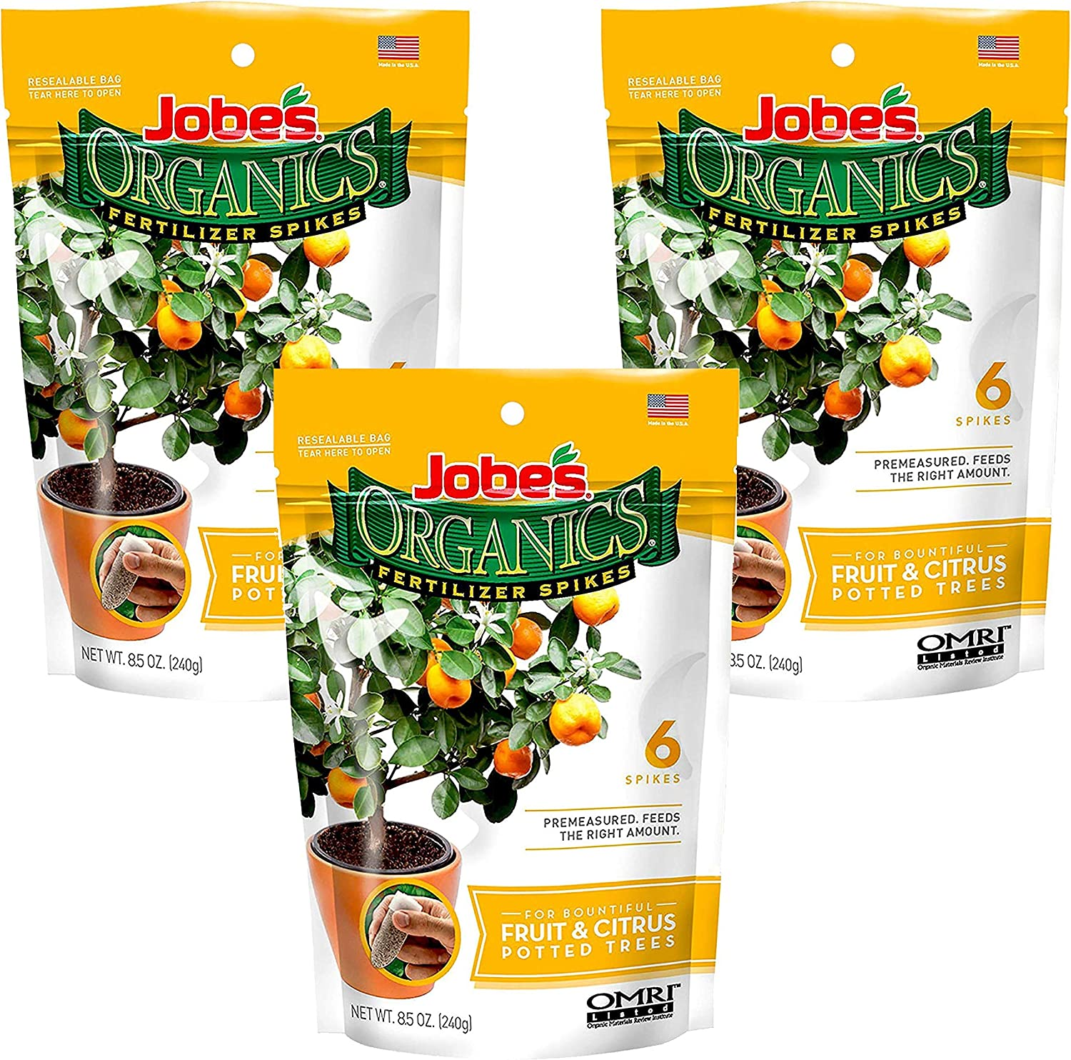 Jobe's Organics Fruit & Citrus Tree Fertilizer Spikes, 3-5-5 Time Release Fertilizer for All Container or Indoor Fruit Trees, 6 Spikes per Package (3)