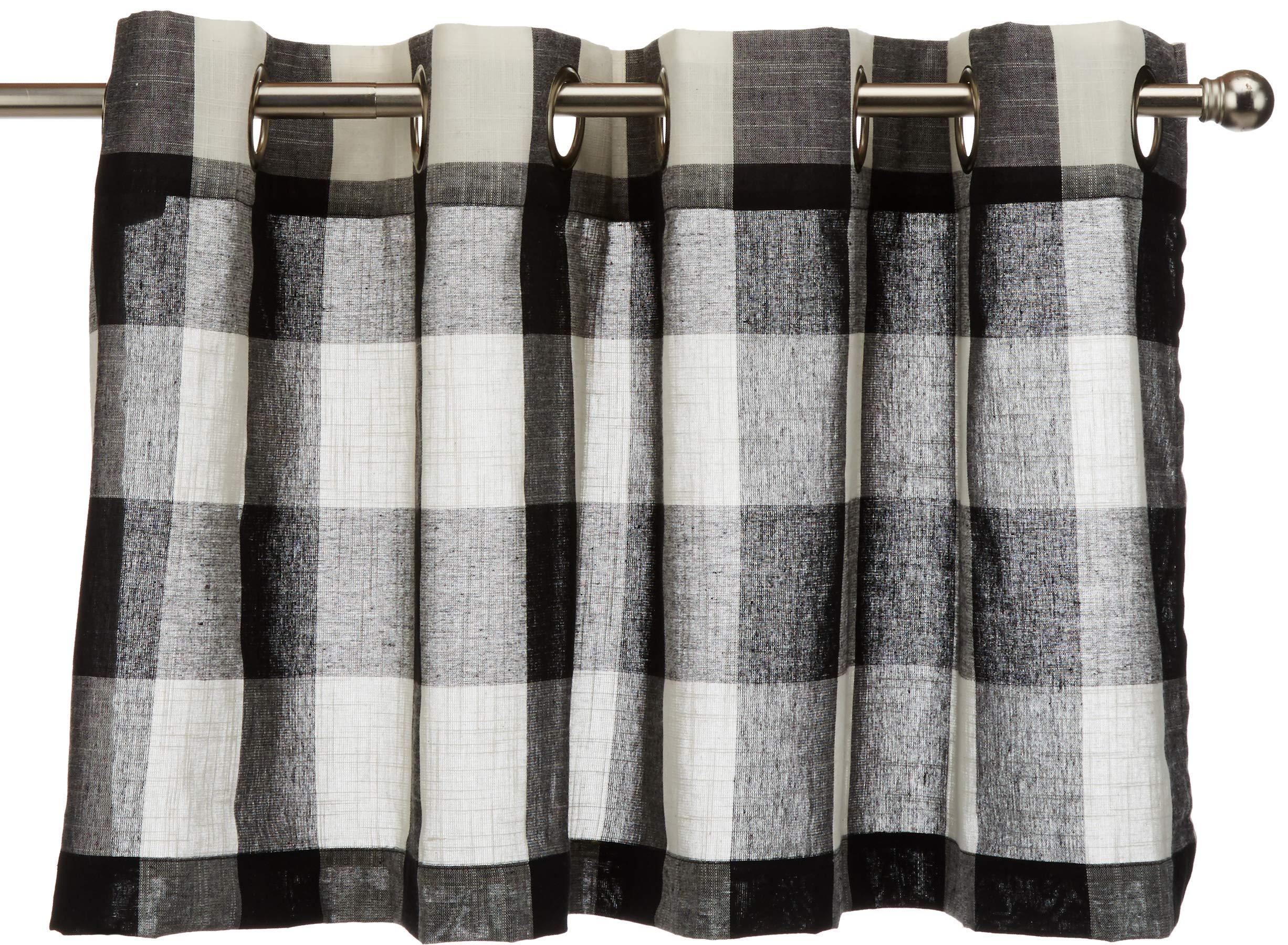 Lorraine Home Fashions 09570-V-00146 BLACK Courtyard Grommet Window Curtain Valance, Black, 53'' X 18'' by LORRAINE HOME FASHIONS