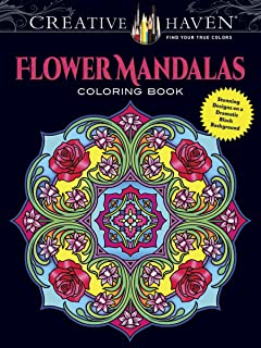 Creative Haven Flower Mandalas Coloring Book Stunning Designs On A Dramatic Black Background