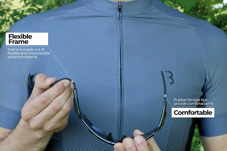 Unisex Gafas de Ciclismo Unisex para Adulto BSG-61 Incluye Tres Cristales Intercambiables de poplycarbonato con Revestimiento Impermeable BBB