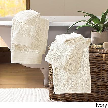 3ee054fdfa Pacific Coast Textiles - Asciugamani in consistente Cotone Jacquard in  Stile Barocco, Colore: Avorio, Set di 6: Amazon.it: Casa e cucina