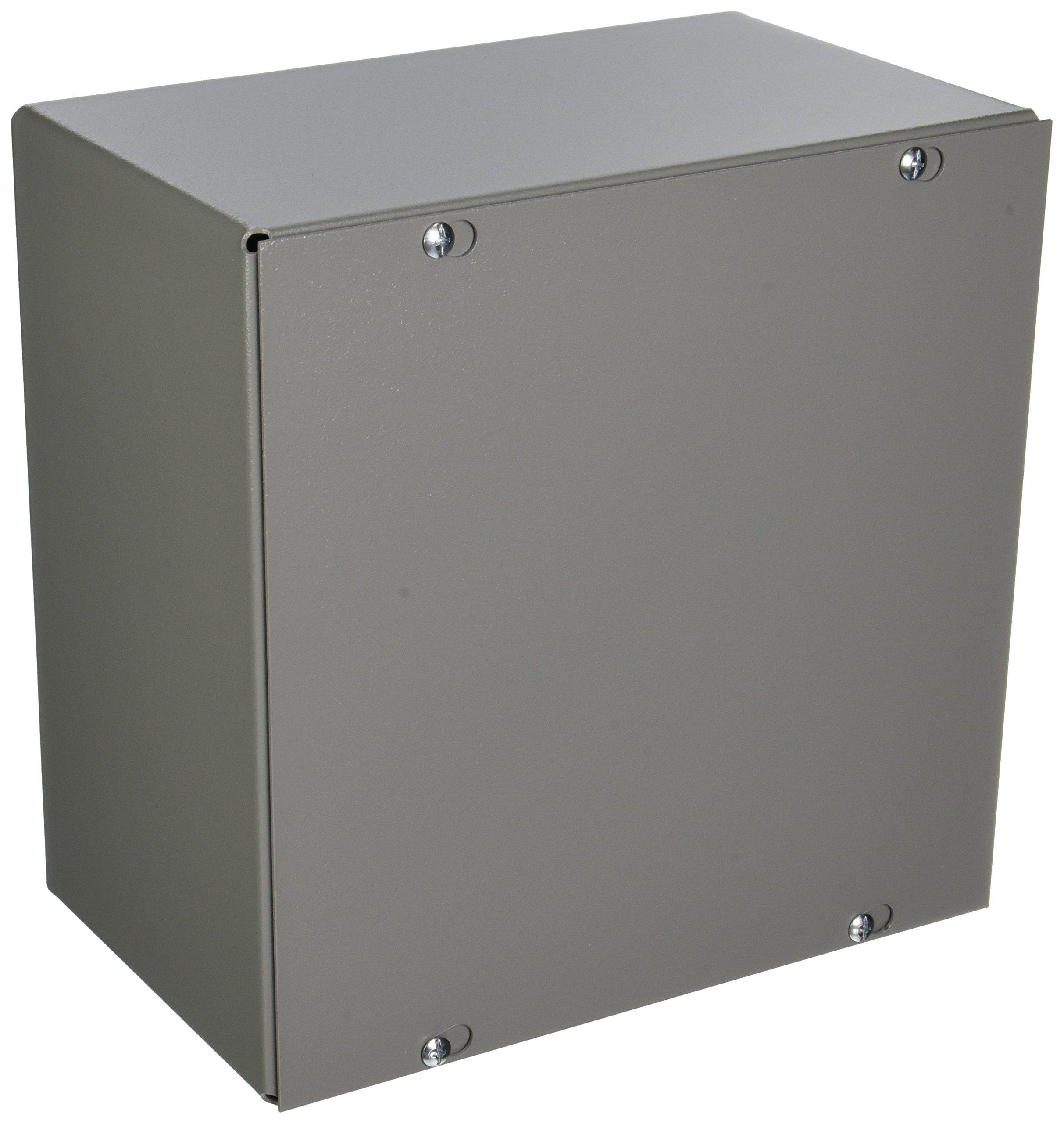 Wiegmann SC101006NK SC-Series NEMA 1 Screw Cover Wallmount Pull Box, No Knockouts, Painted Steel, 10'' x 10'' x 6''