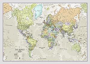 Maps International - Mapa del mundo, póster clásico con el mapa del mundo, plastificado – 84,1 x 59,4 cm – Colores clásicos: Amazon.es: Oficina y papelería