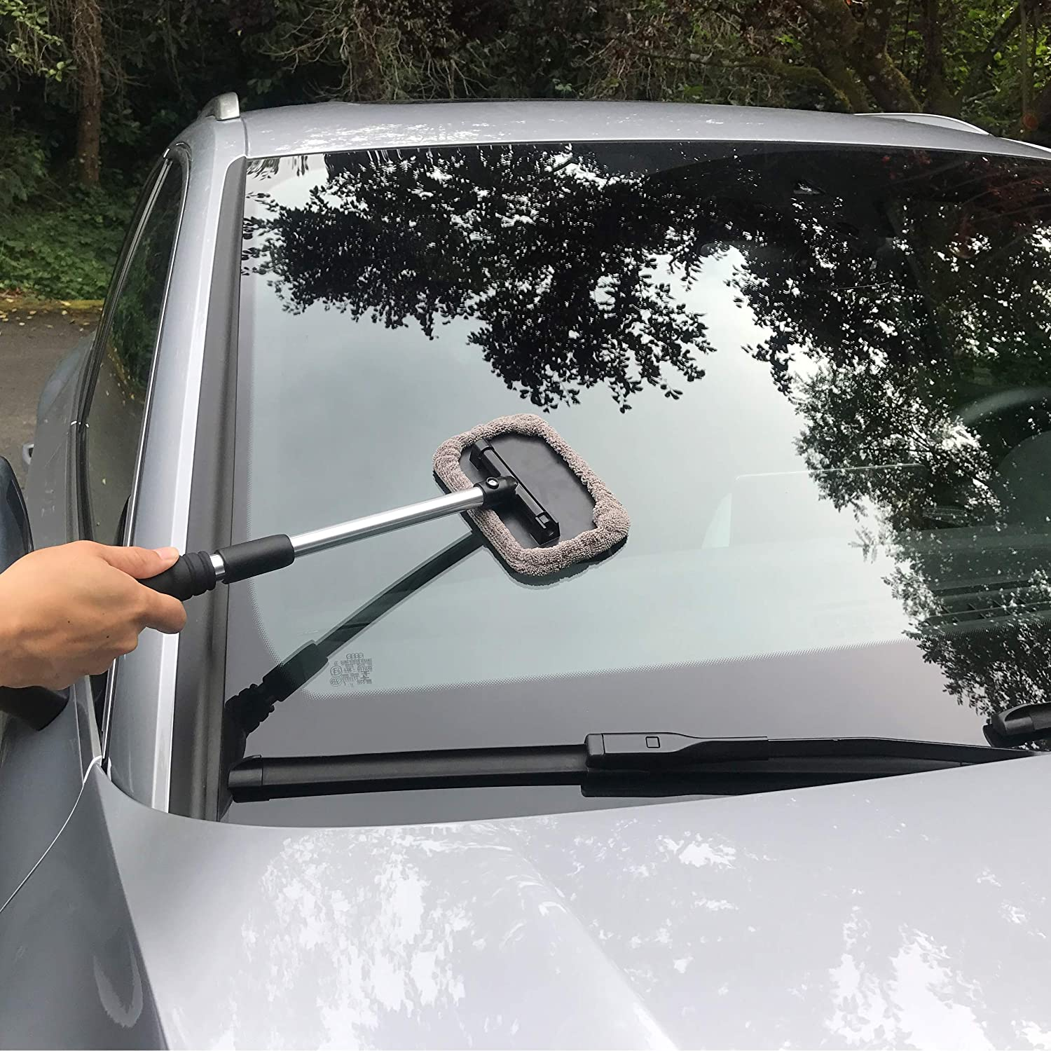 Polyte Pivoting Windshield Glass Cleaning Tool Extendable Aluminum Handle w//Microfiber Covers