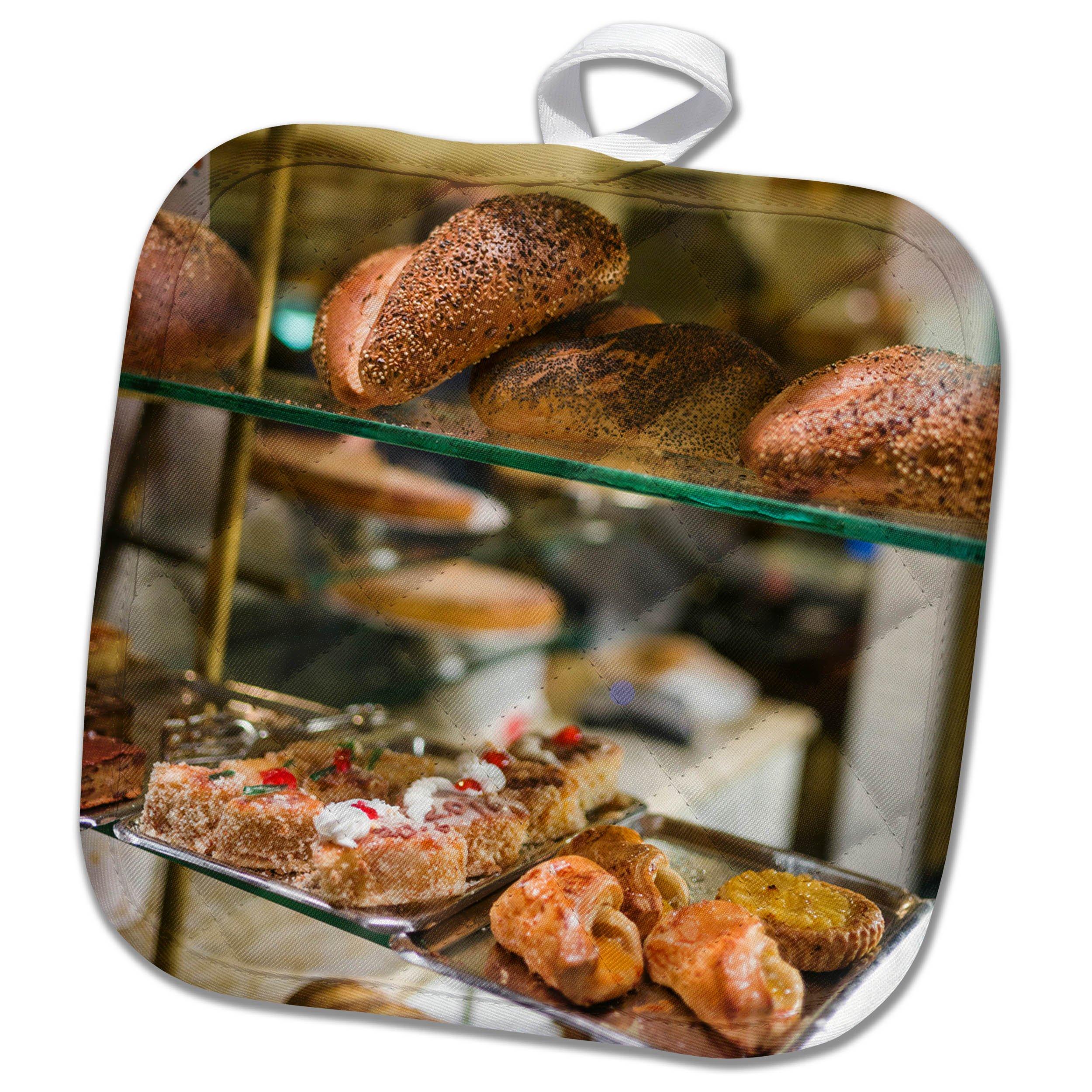 3dRose Danita Delimont - Food - Belgium, Antwerp. Shopping district, bakery window - 8x8 Potholder (phl_277300_1)
