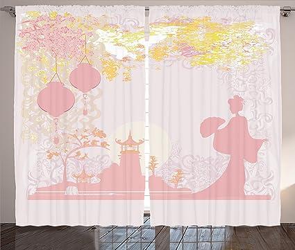 Marvelous Lunarable Lantern Curtains, Vintage Japanese Style Chinese Lanterns On  Floral Landscape Romantic Print, Living