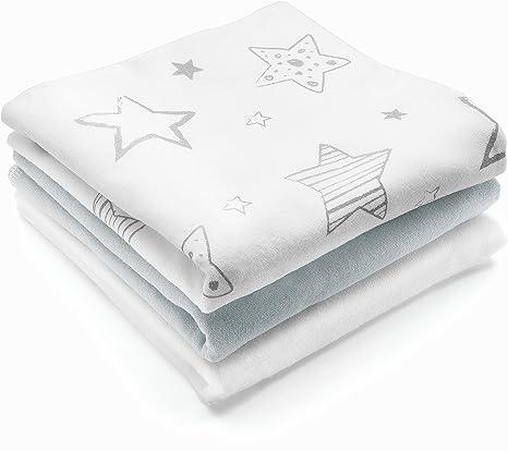Paño franela bebé - 3 Ud., 80x80 cm, estampado estrellas / Muselina suave 100% algodón, sin sustancias nocivas, certificado OEKO-TEX - color blanco, gris: Amazon.es: Bebé