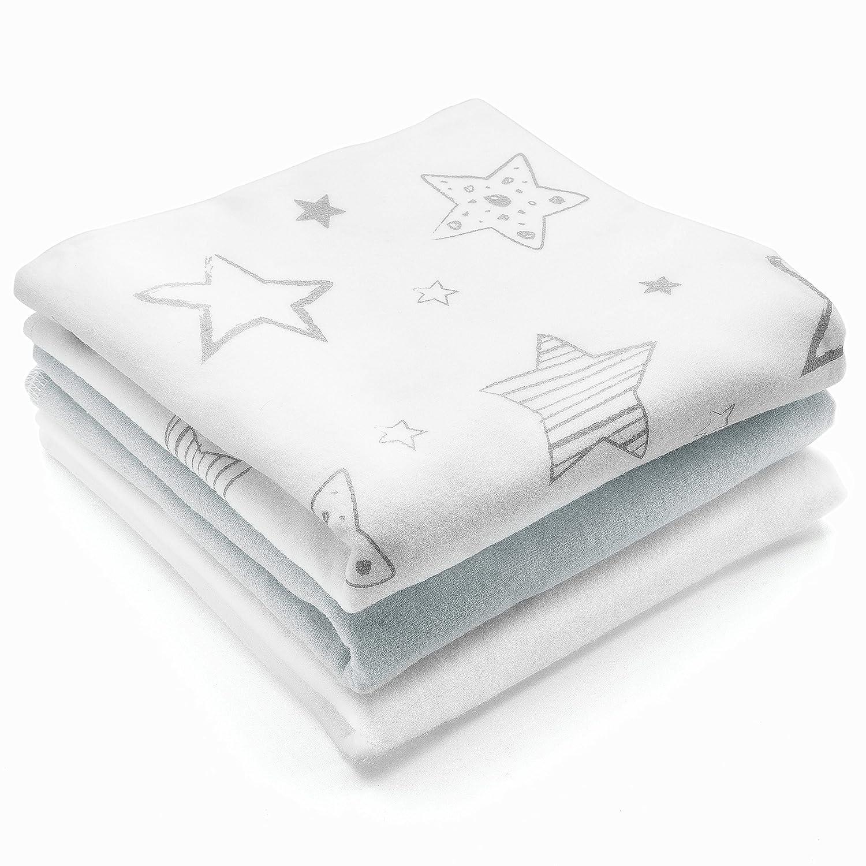 Lot de 3Serviettes en molleton couches en tissu étoiles–80x 80cm | langes bébé souples–100% coton–Certifié sans substances nocives, certifié Öko-Tex Standard 100–Blanc Gris Makian