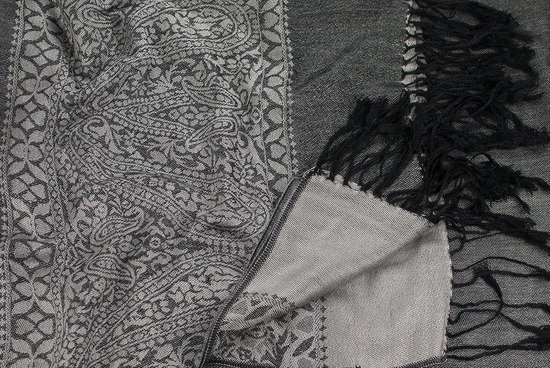 CJ Apparel Argent   Noir Motif Paisley Design Châle Pashmina D écharpe Wrap  Châles  Amazon.fr  Vêtements et accessoires c638a4a3d3f