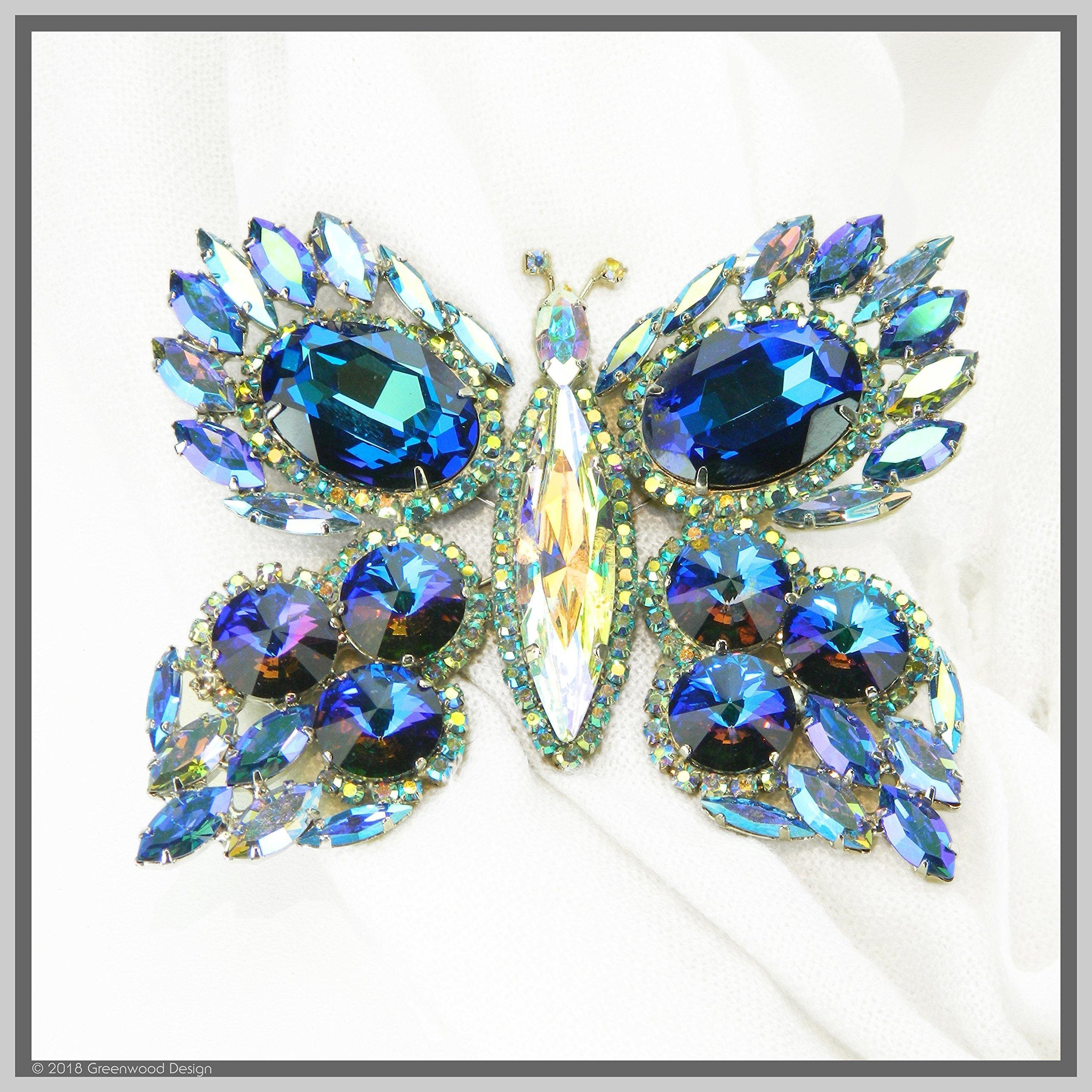 Hand Made Jewelry Art Butterfly Brooch Pin Exotic Blue Winged Swarovski Crystal Rhinestones