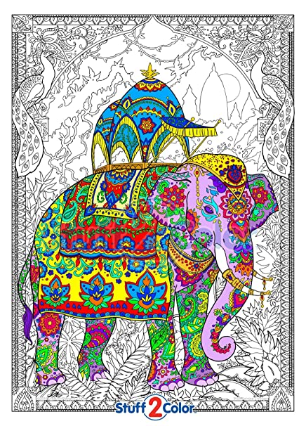 amazon com painted elephant giant wall size coloring poster
