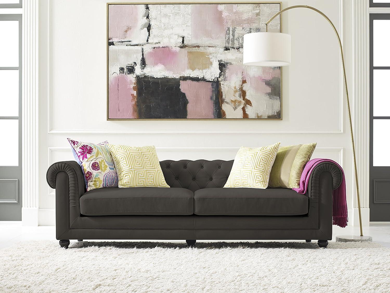 Elle Decor Amery Tufted Sofa, Velvet, Gunmetal