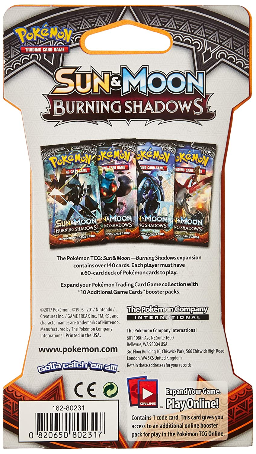 Pokemon TCG Blistered Booster Pack Containing 10 Cards with Over 140 New Cards to Collect 820650802317 Sun /& Moon Burning Shadows