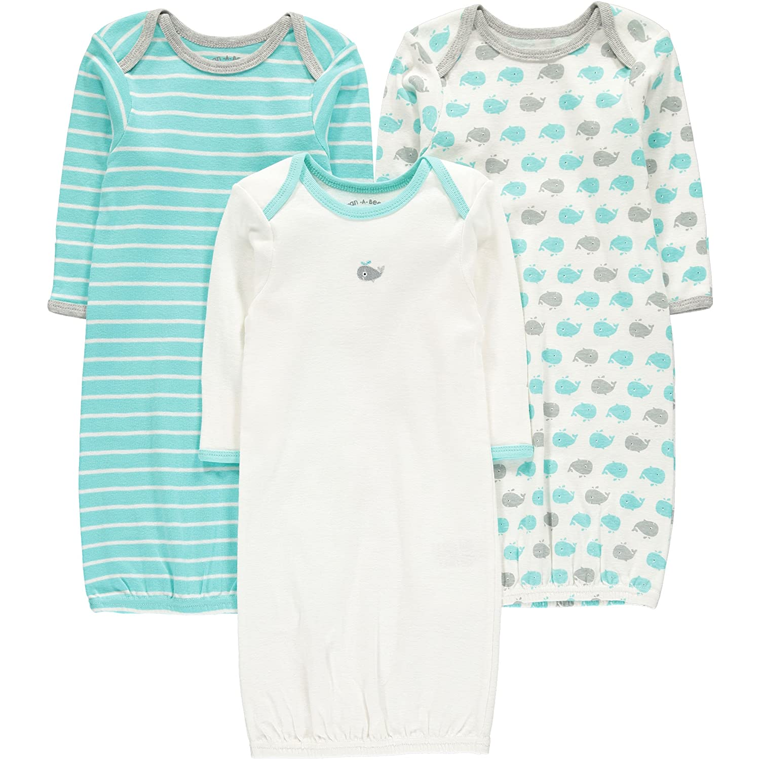Wan-A-Beez Baby Boys' and Girls' 3 Pack Printed Gowns Turquoise Whale) WGNB0001