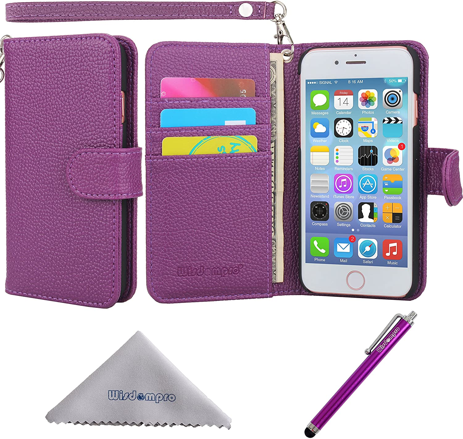 iPhone SE 2020 Case, iPhone 8 Case, iPhone 7 Case, Wisdompro Premium PU Leather Protective Folio Flip Wallet Case with Multiple Card Holder Slots and Lanyard for 4.7 Inch Apple iPhone SE2/8/7 - Purple