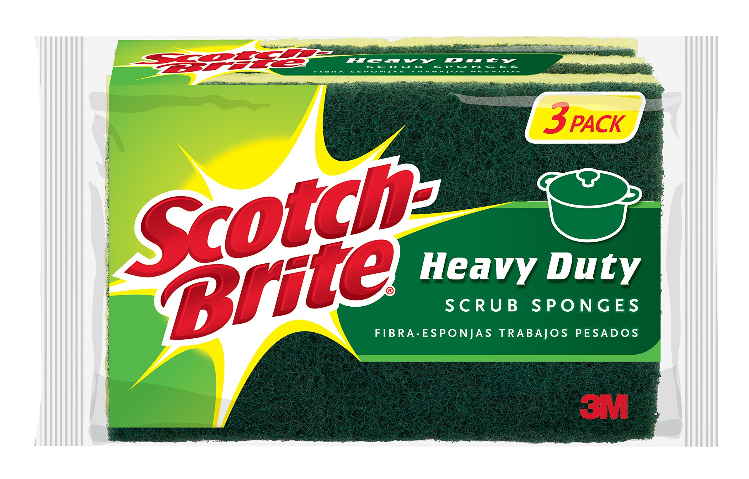 Scotch-Brite Heavy Duty Scrub Sponge, 3-Sponges/Pk, 8-Packs (24 Sponges Total)