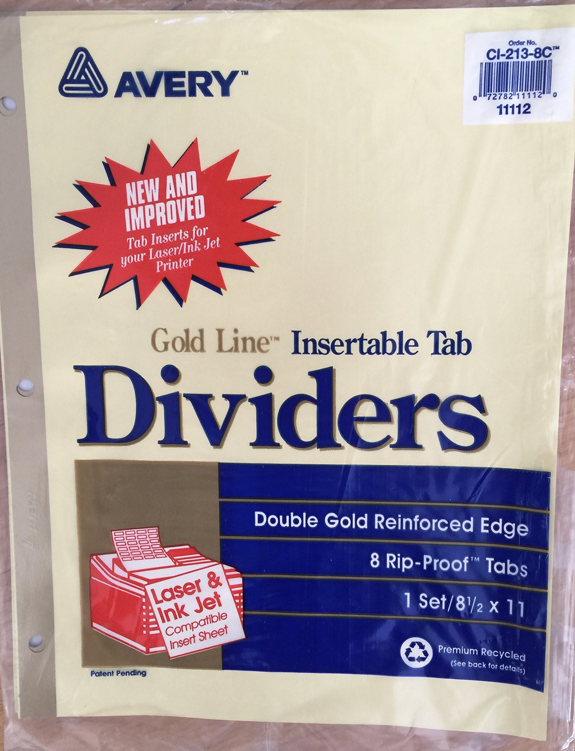 Gold Line Insertable Tab Dividers