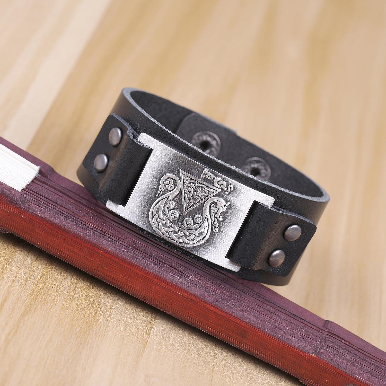 Black cooltime Norway Viking Ship with Celtic Flag Genuine Leather Bracelet for Men Women