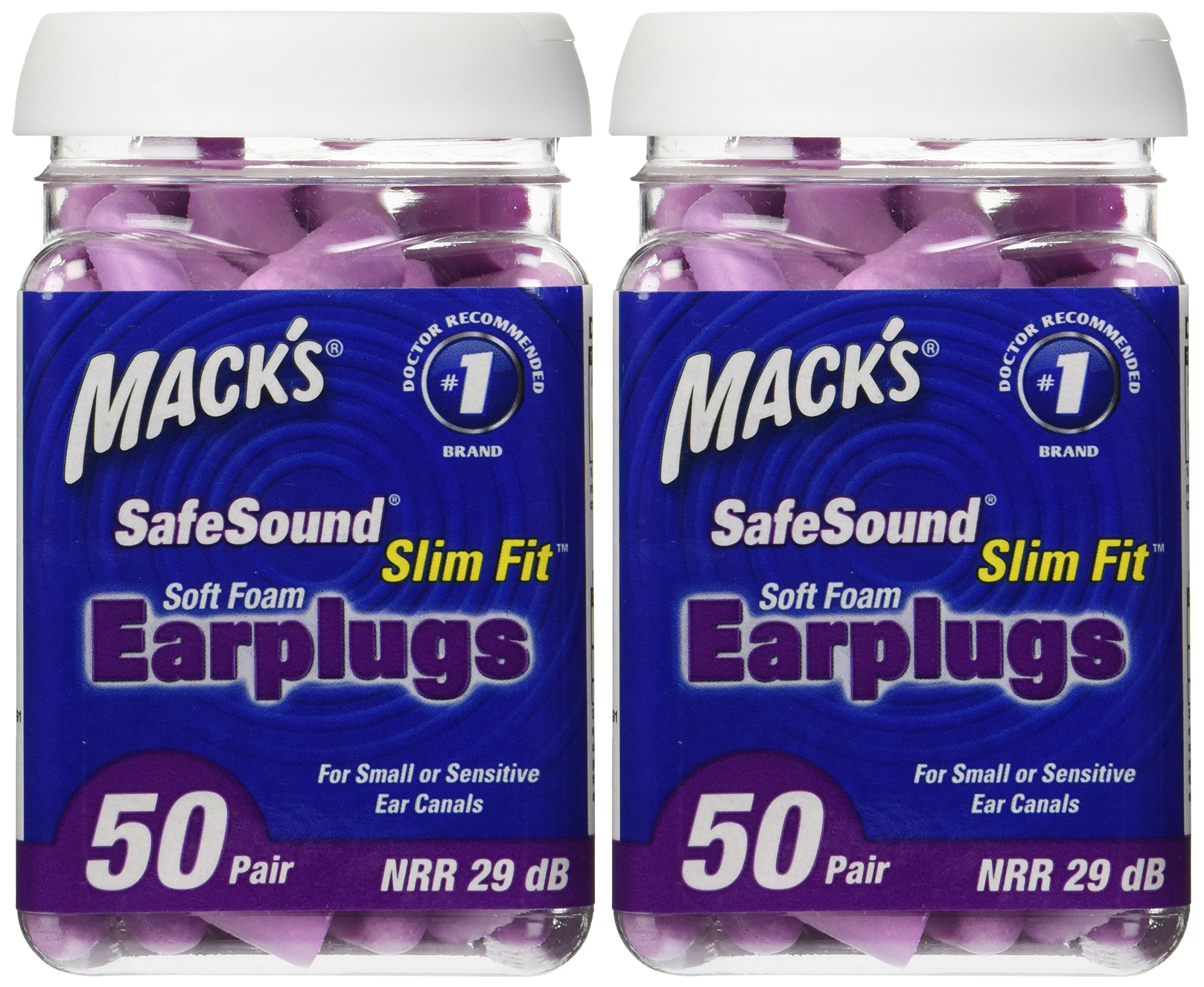 Mack's Ear Care Slim Fit Soft Foam Earplugs, 50 Count (Pack of 2)