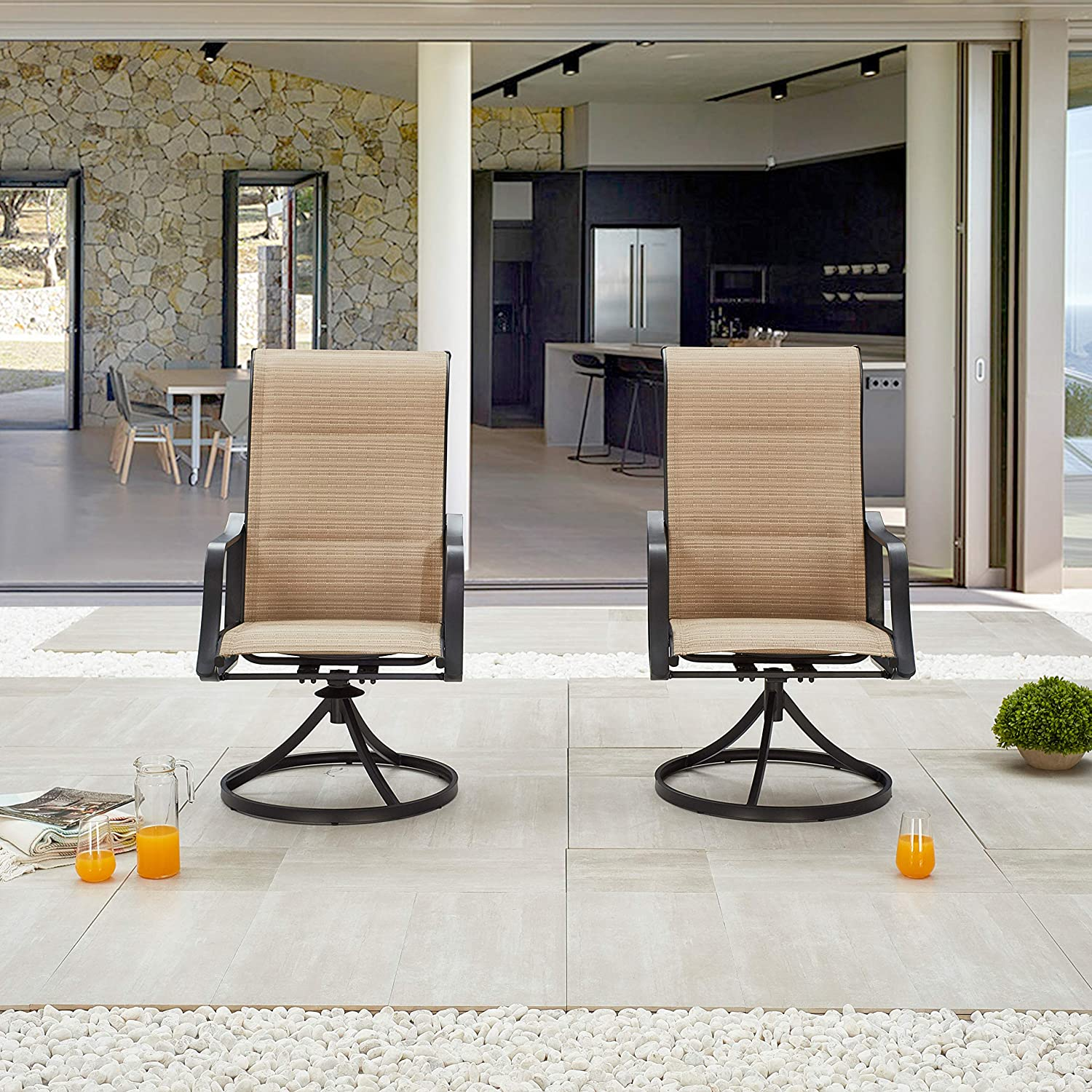 LOKATSE HOME Patio Dining Swivel Set of 2 Outdoor Textilene Fabric Chair with Metal Frame, Beige