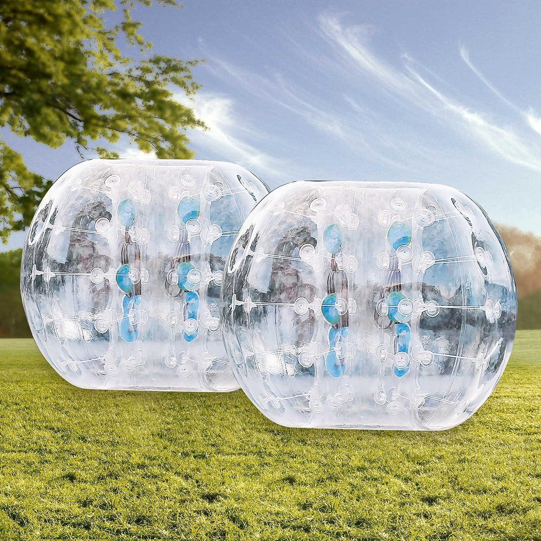 2pcs 1.2M finbfbay aufblasbar Bumper Ball 1,2 m Sandsackset 1,5 m 150 Durchmesser Bubble Fußball Blow Up Spielzeug in 5 min aufblasbar Bumper Bubble Bälle für Erwachsene oder Kind