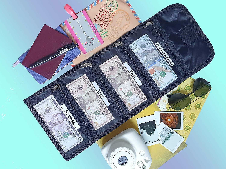 Tidy Pockets Cash Wallets 4 Zipper Slots Anchor Money Organizer