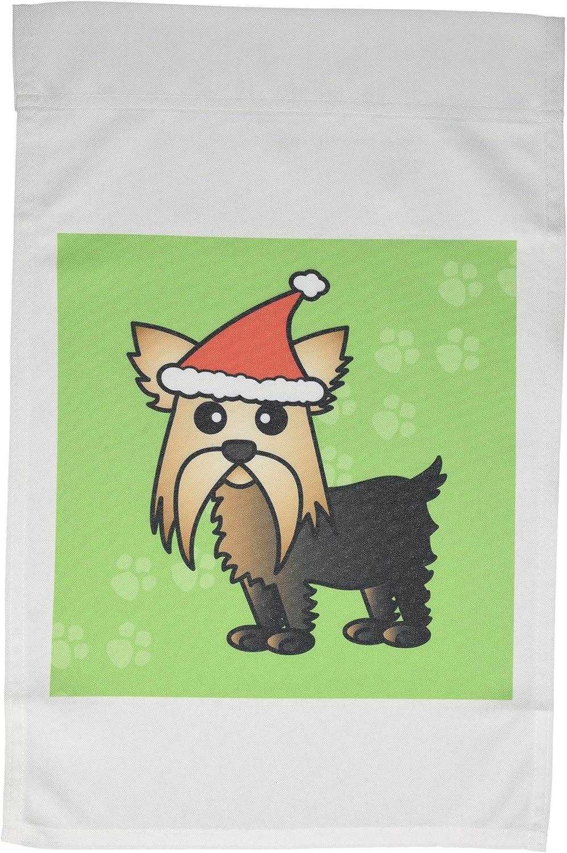 3dRose fl_10864_1 Garden Flag, 12 by 18-Inch, Cute Yorkshire Terrier Yorkie Green with Santa Hat