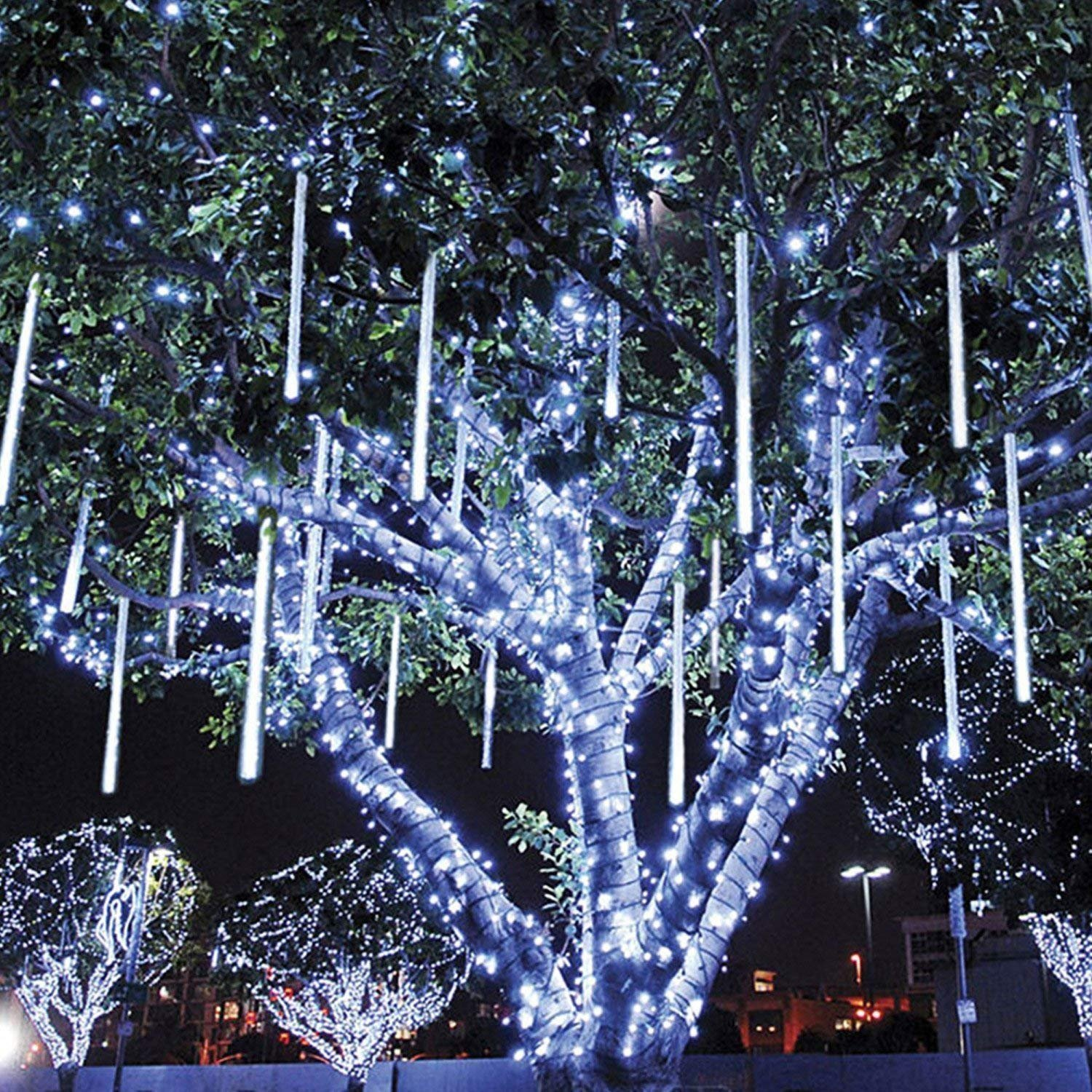 Amicool Meteor Shower Lights Falling Rain Lights Icicle Snow String Lights 30cm 8 Tubes 144 Waterproof LEDs Wedding Party Holiday Christmas Decorations
