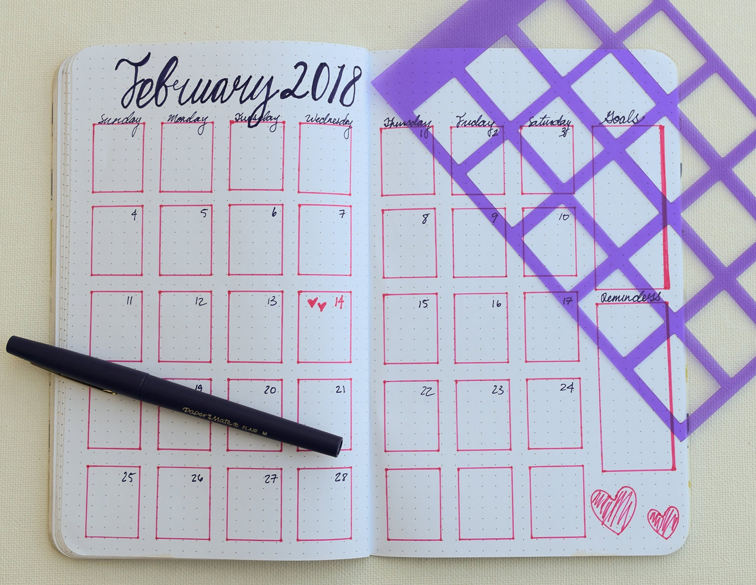 3 Journal Stencils: Monthly Spread, Weekly Spread, Monthly Overview, and Notes, Goals, Shopping Lists