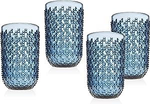 Highball Glasses Beverage Glass Cup Alba by Godinger – Blue – Set of 4
