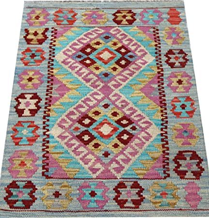 Genuine Afghan Kilim Area Rugs Light Blue Pink Multi Coloured 100 Wool Handwoven Tribal Nomadic Geometric 62 X 88 Cm Amazon Co Uk Kitchen Home