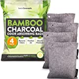 Bamboo Charcoal Air Purifying Bags (4 Pack), Charcoal Bags Odor Absorber for Home and Car (Pet Friendly) - Charcoal Air…
