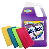 Fabuloso Makes 64 Gallons Lavender Purple Liquid Multi-Purpose Professional Household Non Toxic Fabolous Hardwood Floor Cleaner Refill + Uben Microfiber Assorted Colors 12 X 12 Cleaning Cloth - 4 Pack
