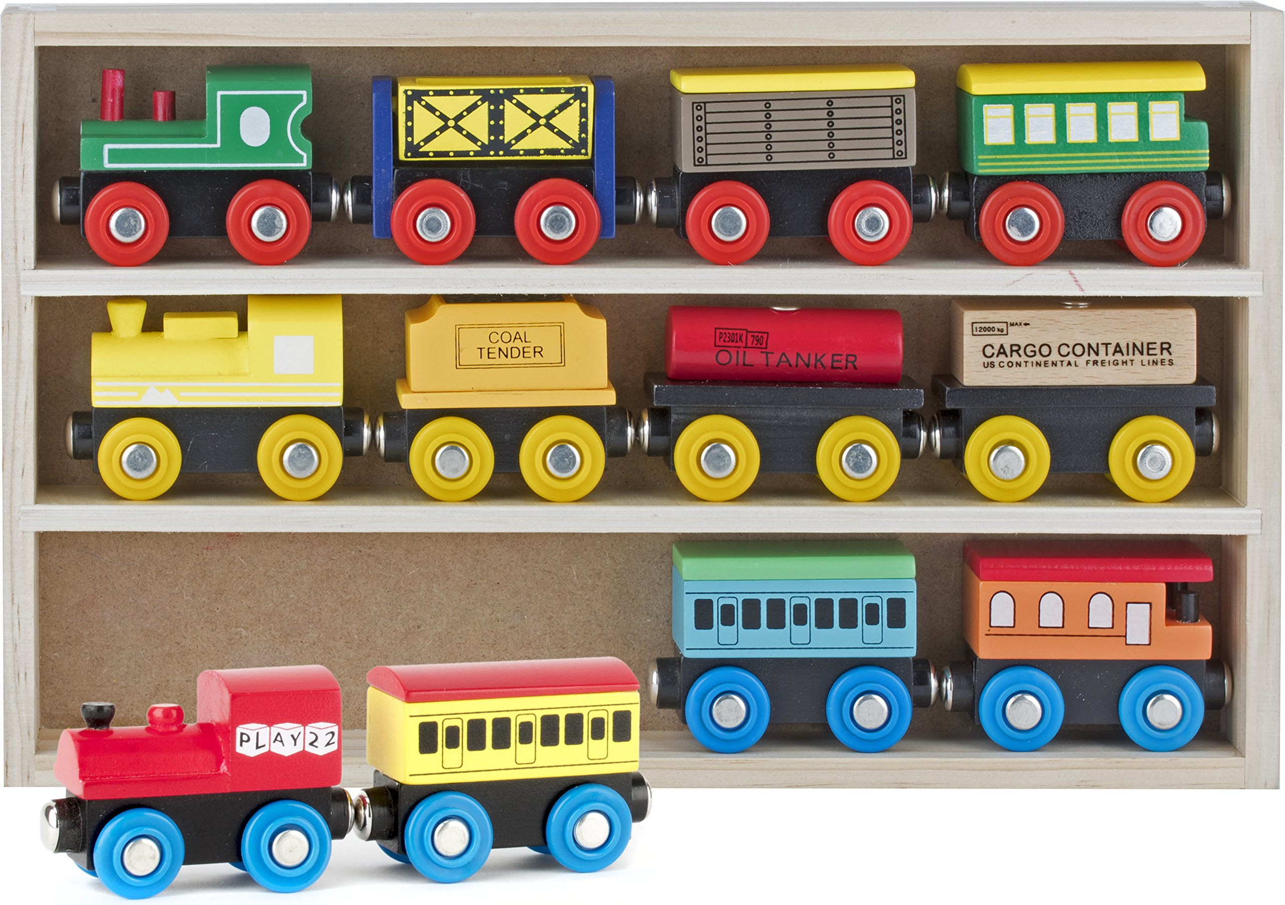 Play22 Wooden Train Set 12 PCS - Train Toys Magnetic Set Includes 3 Engines - Toy Train Sets For Kids Toddler Boys And Girls - Compatible With Thomas Train Set Tracks And Major Brands - Original by Play22