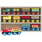 Play22 Wooden Train Set 12 PCS - Train Toys Magnetic Set Includes 3 Engines - Toy Train Sets For Kids Toddler Boys And Girls - Compatible With Thomas Train Set Tracks And Major Brands - Original
