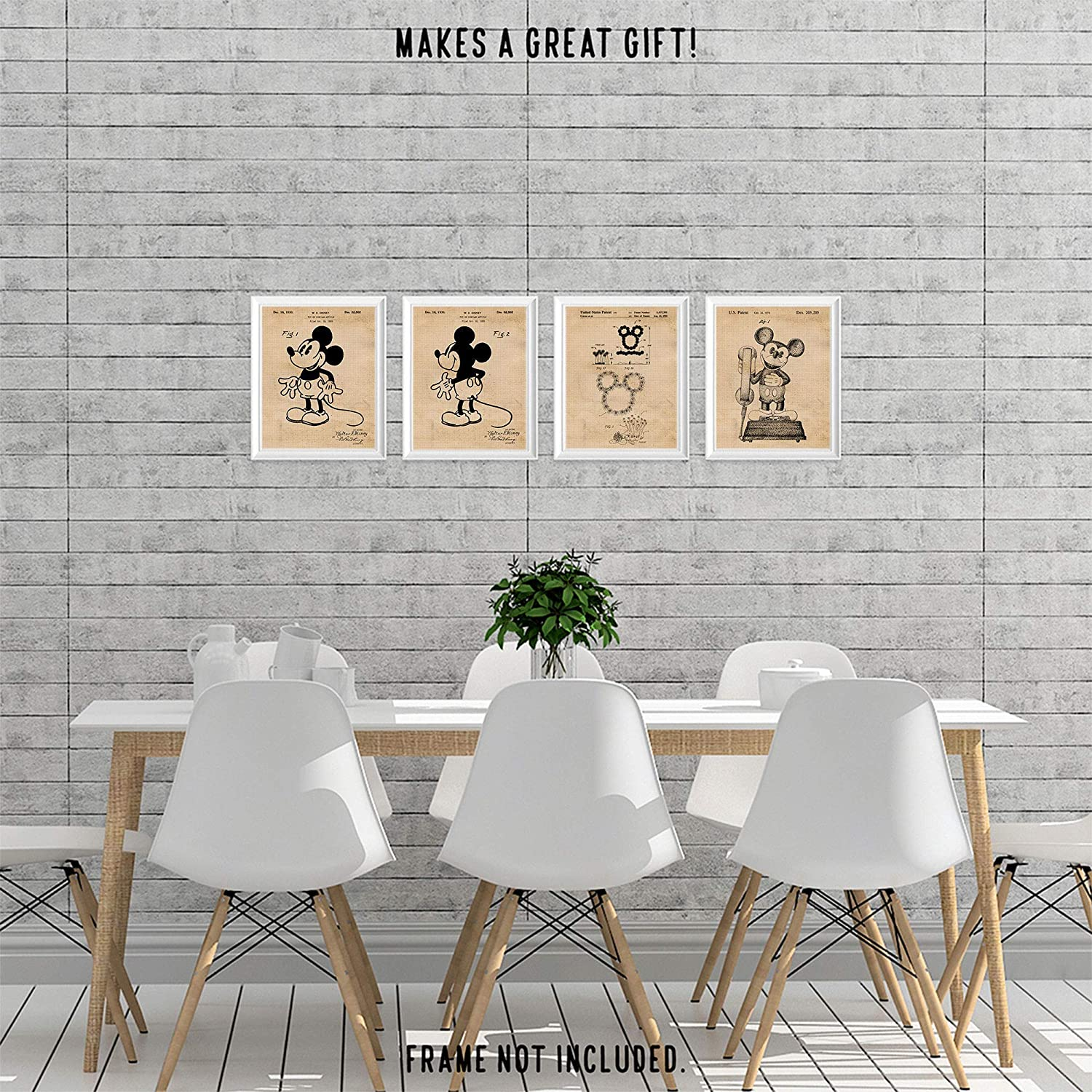 Office Walt Disney Fan Garage Teacher Unframed Photos Man Cave College Student 8x10 Set of 4 Vintage Mickey Mouse Patent Vintage Style Poster Prints Wall Art Decor Gifts Under 20 for Home