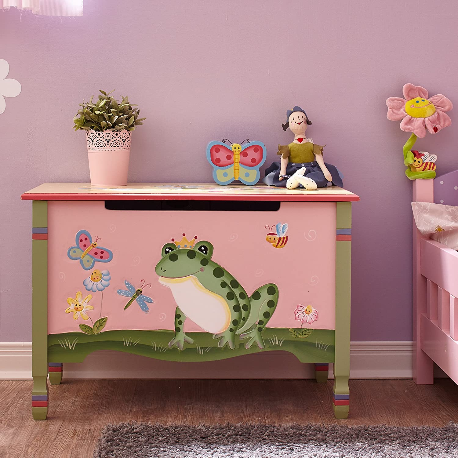 Amazon.com: Fantasy Fields   Magic Garden Thematic Kids Wooden Toy Chest  With Safety Hinges | Imagination Inspiring Hand Crafted U0026 Hand Painted  Details ...